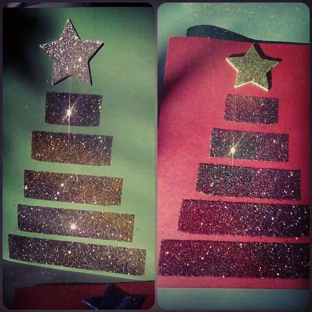 Χριστουγεννιάτικες κάρτες με κολλητική ταινία διπλής όψης και χρυσόσκονη #school #christmas #christmascard #diy #glitter #christmastree #star #crafts