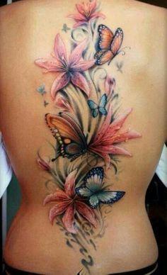 butterflies and stargazer lily tattoo ...love