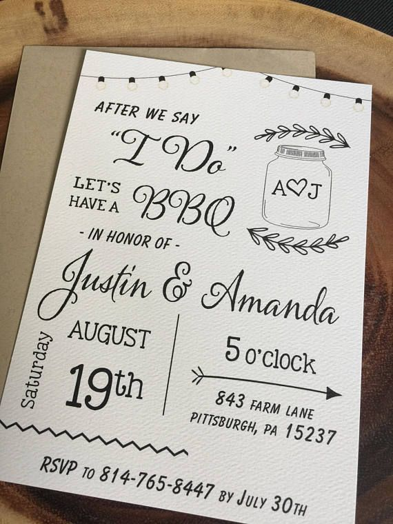 Love This Simple Post Reception Wedding Invitation For A BBQ After Destination Abroad