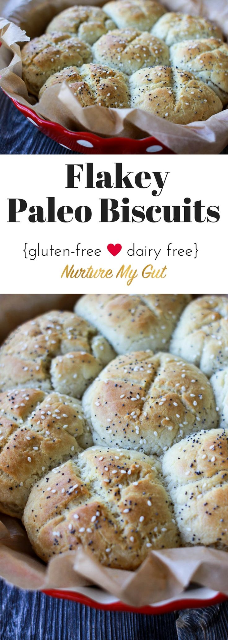 These Flakey Paleo Biscuits have a crispy exterior, a warm & flakey center and a pop of miniature seeds that will bring back flashbacks of bread from long ago.  Made with blanched almond flour, tapioca flour and potato starch.  Grain free, gluten free & dairy free.