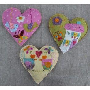 pretty appliquéd felt Hearts