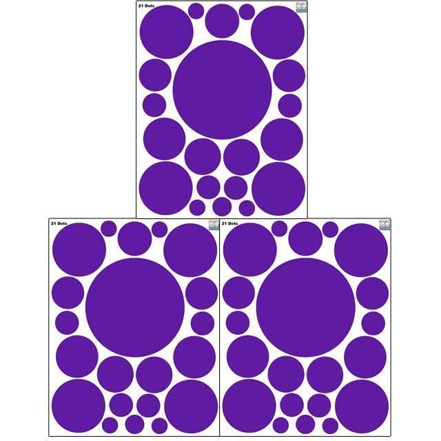 Polka Dot Wall Decals (63) Purple Wall Dots