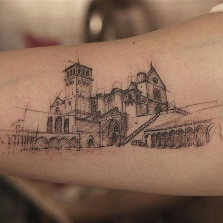 Sketchy architectural tattoos