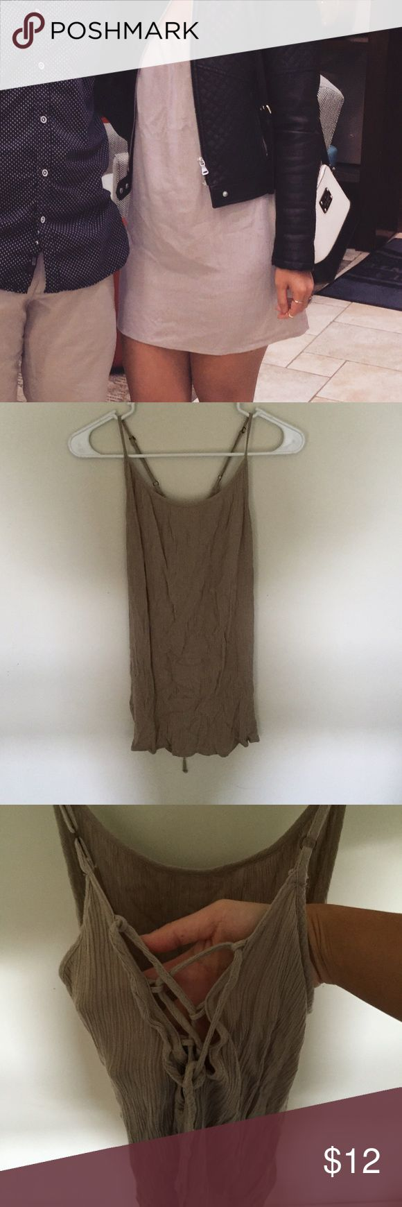 Cami dress Only worn once beige cami dress that laces up in the back. Super cute and casual and can be dressed up or down Forever 21 Dresses Mini