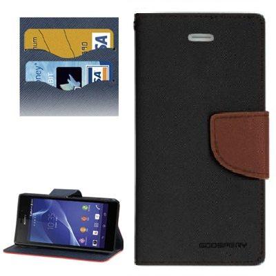 Mercury Leather Case Θήκη Πορτοφόλι Μαύρο (Xperia SP) - myThiki.gr - Θήκες Κινητών-Αξεσουάρ για Smartphones και Tablets - Χρώμα μαύρο με καφέ δέστρα