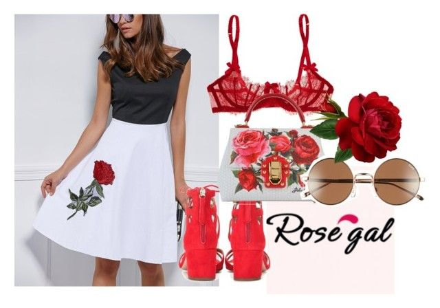 """""""red"""" by ivy-ivova ❤ liked on Polyvore featuring Aquazzura, Dolce&Gabbana and Quay"""