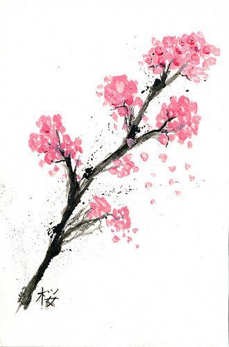 watercolor: Tattoo Ideas, Pretty Watercolor, Sakura Blossoms, Art Teacher, Paintings Ideas, Watercolors, Cherries Blossoms Watercolor, Flowers Watercolor, Water Colors
