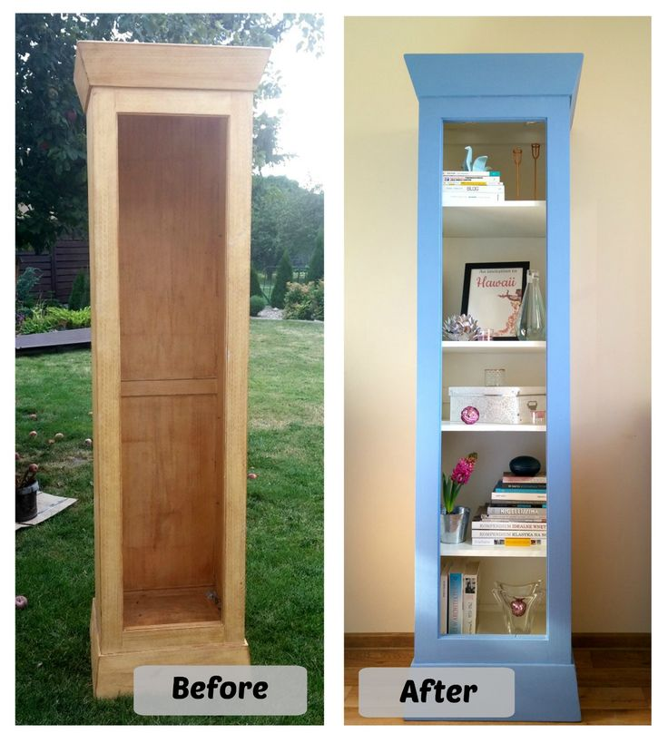 The old bookcase painted a homemade chalkpaint. I try to get the Pantone color of the year - Serenity. Befor and After.