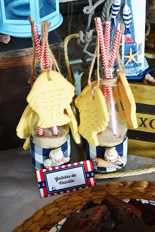Vanilla fish cookies at a nautical birthday party! See more party planning ideas at CatchMyParty.com!