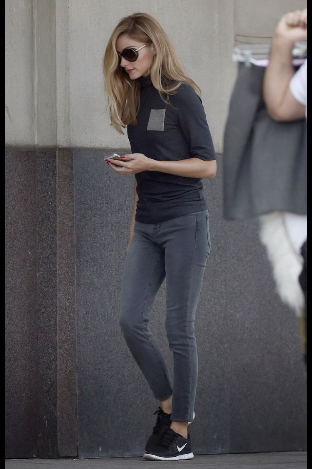 Olivia Palermo, Grey Denim, Casual, Turtleneck, OP, Nike - omg just have been wanting these runners!!