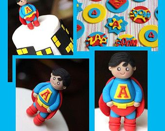 Fondant Cake Toppers - Superhero-Themed Superman Fondant Cake Toppers Party Package Set
