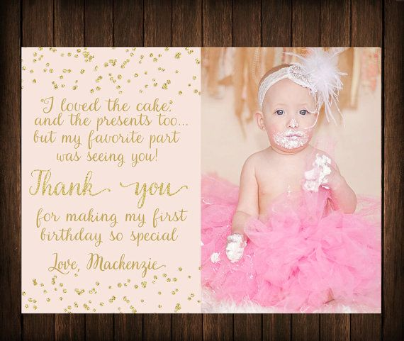 First Birthday Thank You Card Pink & Gold by Southernskiesdesigns