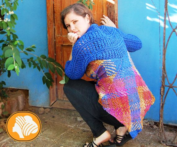 Penguin style blue and fuchsia wrap vest by Ullvuna on Etsy, $130.00