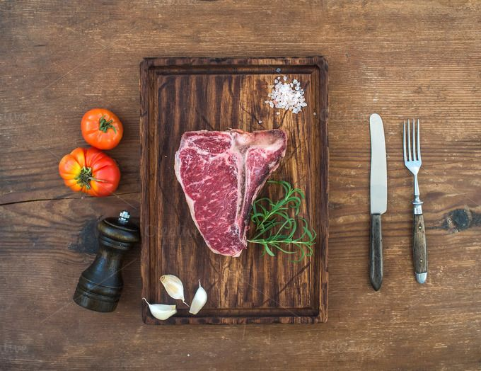 Raw fresh meat t-bone steak by Foxys on @creativemarket