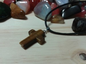 Tigers eye cross amulet-For Keeps gemstone accessories