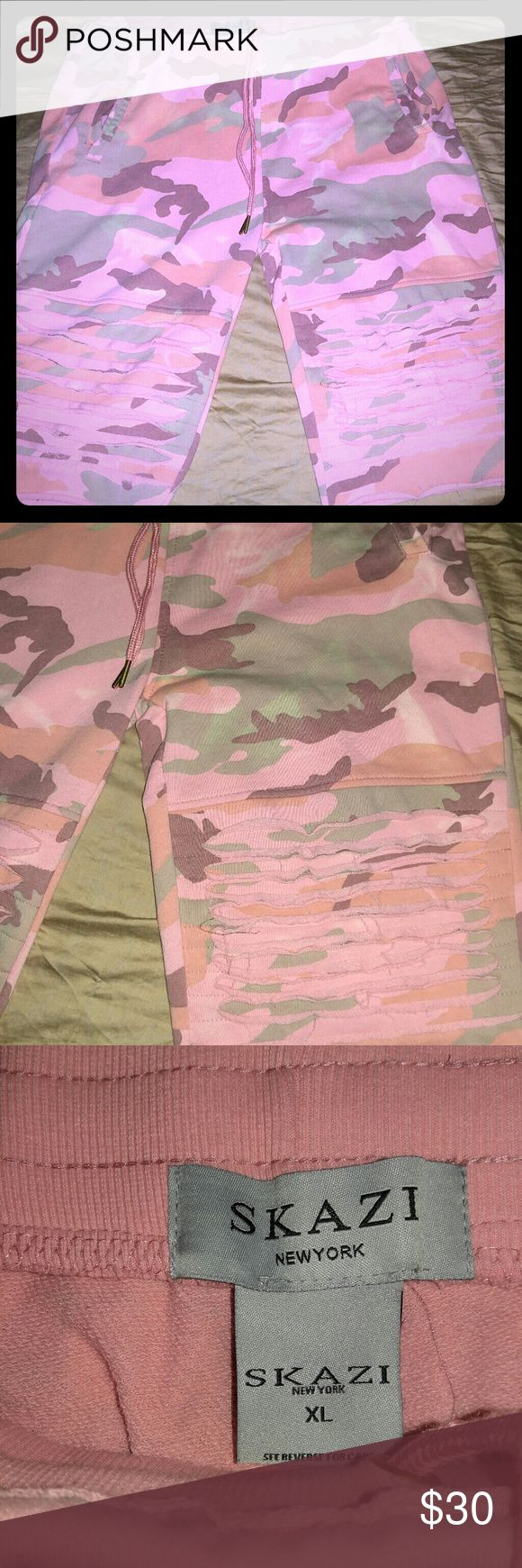 Skazi  shorts Skazi pink designer camo shorts with rip design on the bottem skazi Shorts