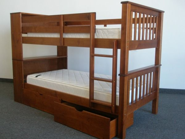 bunk bed twin over twin bookcase expresso with 2 storage drawers for only 449