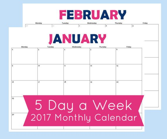 5 Day Week Calendar. This monthly calendar printable includes January- December 2017.   What You Need To Know -------------------------------------------------------------------------------------------------------- ► Digital PDF available for download after purchase  ► Print on standard size 8.5 x 11 printer paper  ► Includes January 2017- December 2017 (12 months total) ► Print as many copies as you want  {Other sizes are also available in my shop}…