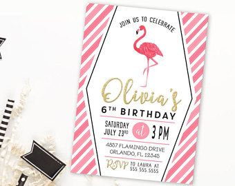 Pink Flamingo Birthday Invitation | Let's Flamingle | Flamingo Invitation | Luau Invitation | Girls Pool Party Invitation | Pink And Gold