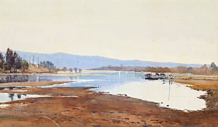 Julian Rossi Ashton (1851—1942, UK-Australia) The Hawkesbury River, New South Wales. 1888 watercolour on paper. 38 x 64 cm.