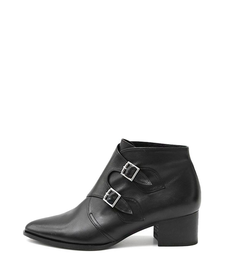 Black Pointed-toe Rough-heel Ankle Boots | BlackFive