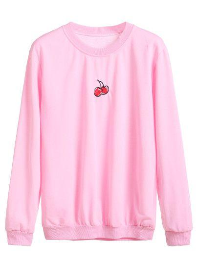 Sudadera con bordado de cereza - rosa