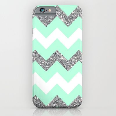 glitter seafoam chevron iphone case