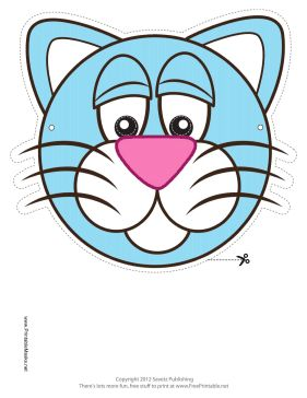 This Cat Mask features a round blue kitty cat with a big pink nose. Free to download and print