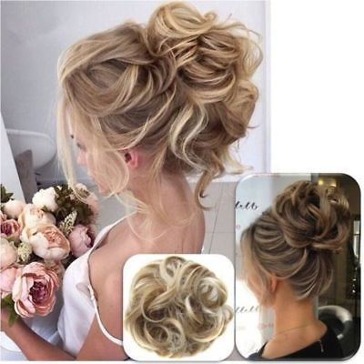 Details about 2019 New Synthetic Curly Hair Extensions Hairpiece Bun Updo Scrunchie Pony Tail