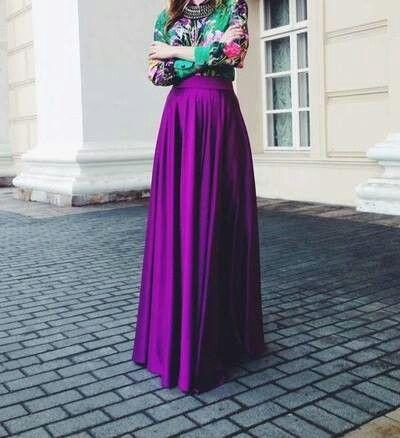 purple maxi skirt & turquoise floral blouse