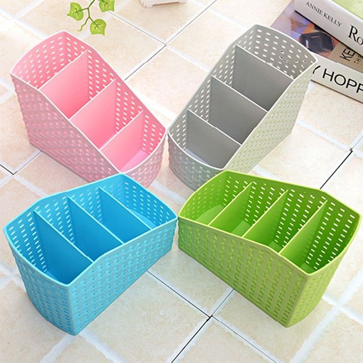 Behogar Multi-function Plastic PP Desktop Storage Box Case 4 Grid Sub-grid Desk Pen Pencil Organizer Make up Cosmetic Holder