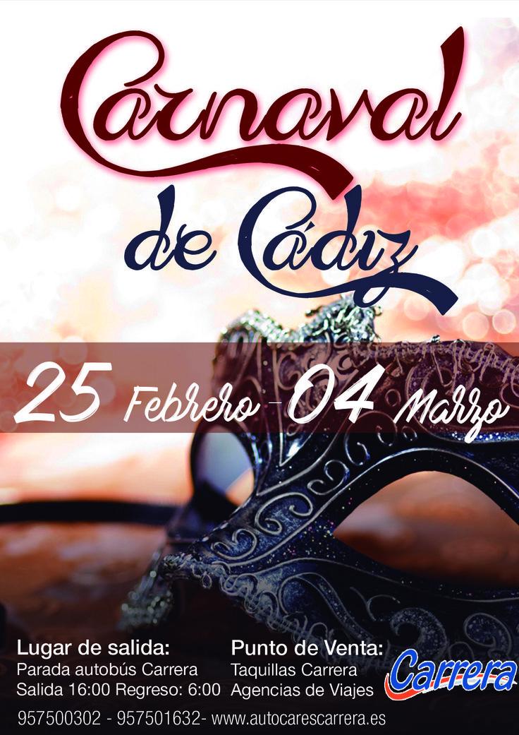 Autobuses para el Carnaval de Cádiz 2017.  Volvemos a ir a los Carnavales de Cádiz otro año más, como siempre agradecer a todos los que habéis venido con nosotros años anteriores.  En principio saldremos desde Lucena, Montilla, Aguilar, Monturque, Cabra, Puente Genil. Écija. En función de las peticiones iremos añadiendo pueblos.  HORARIO: Salida 16:00 - 16:30 Regreso 6:00  LUGAR DE SALIDA: Paradas de Autocares Carrera  PUNTOS DE VENTA: Próximamente  Si sois un grupo y queréis viajar otro día…