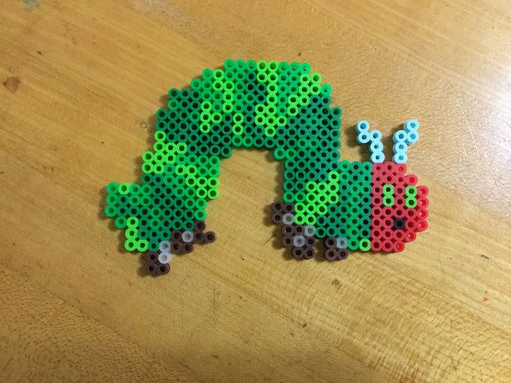 The hungry caterpillar Perler beads creation for favorite book character school project.