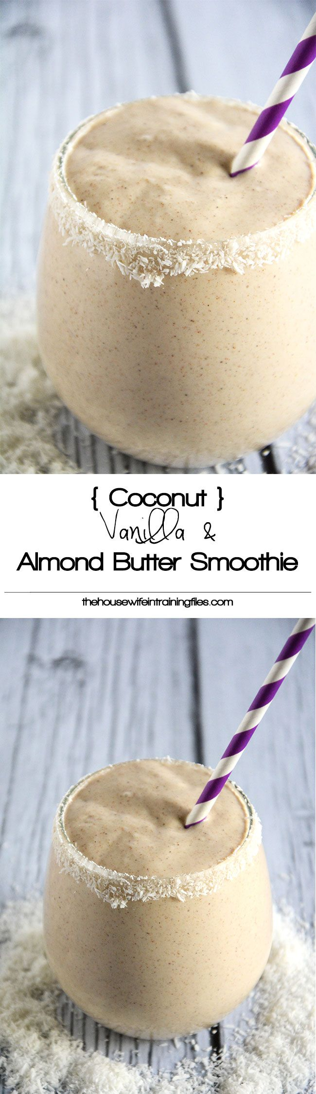A velvety smoothie made with coconut milk, vanilla, almond butter and sweetened with dates! #