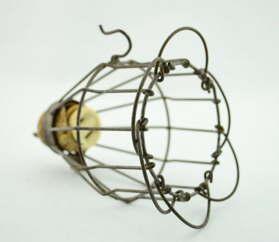 Vintage Industrial Wire Light Cage With Hook, Safety Wire Cage Light Fixture  For Parts, Steampunk   Untested