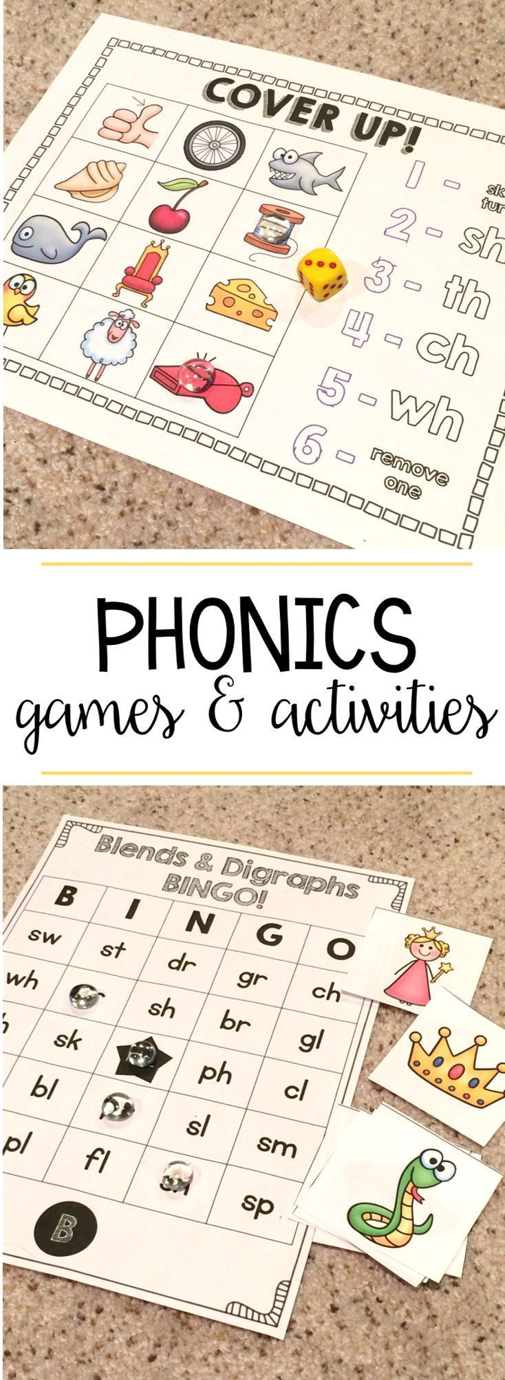 Game with shapes of different colors crossword - Phonics Games Digraphs Blends Short Long Vowels