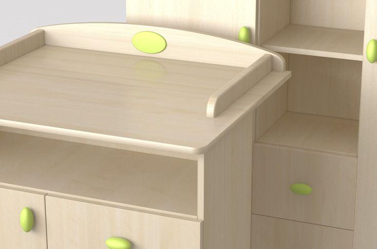 Nelli green changing table and wardrobe / zöld Nelli pelenkázó komód és szekrény