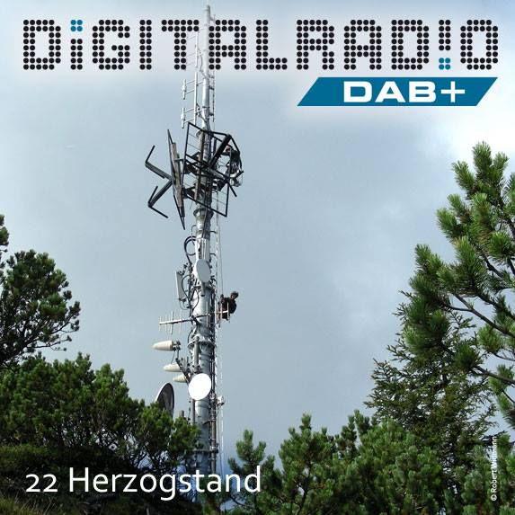 (22) Herzogstand/Oberbayern * Berg in den Bayerischen Voralpen mit 1731 m ü. NN nordwestlich des Walchensees * Sendeanlagen des Bayerischen Rundfunks und der Deutschen Funkturm befinden sich 900 Meter südöstlich auf dem Fahrenbergkopf * BDR mit DAB seit November 2000 auf der Station * BR startete seine DAB+ Ausstrahlung im Oktober 2015 *
