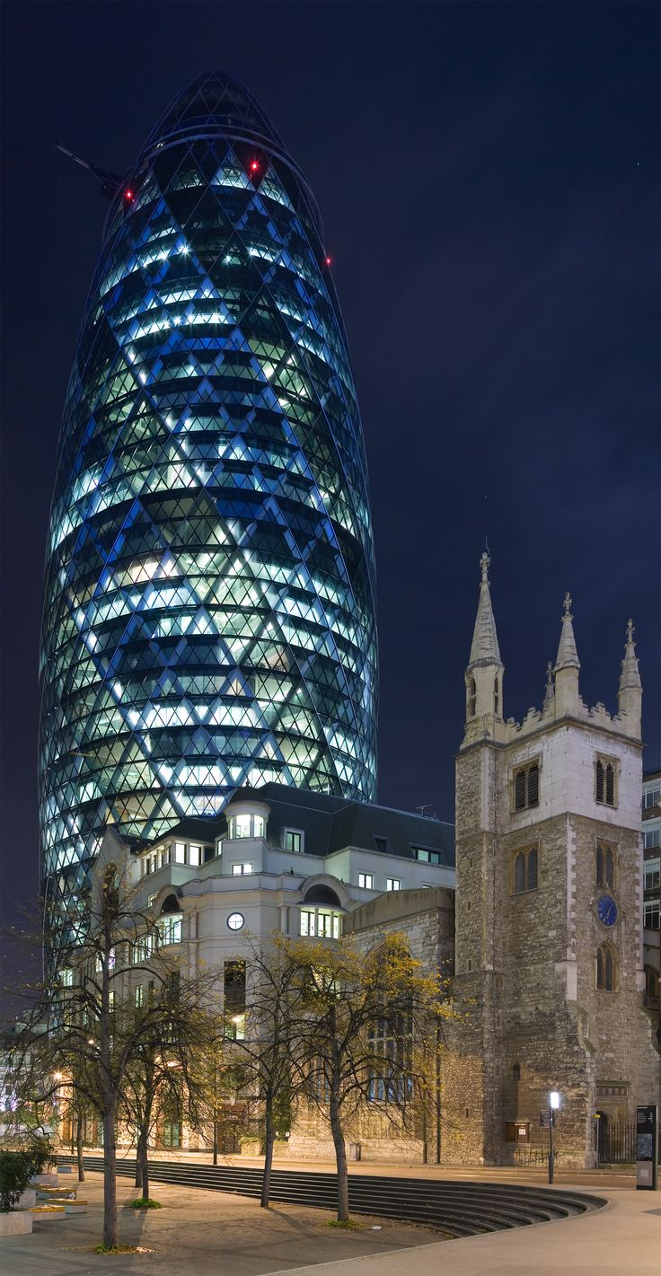 30 St Mary Axe (the Gherkin) at night London United Kingdom [2003x3869]