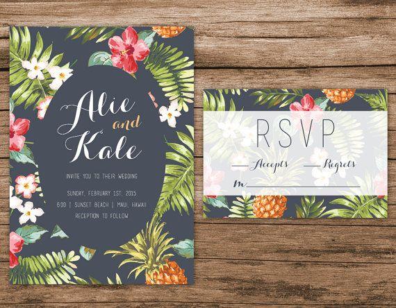 Elegant Tropical Wedding Invitation Destination By AlexaNelsonPrints