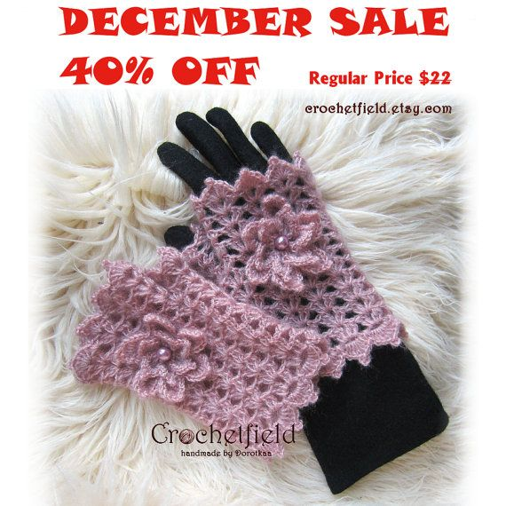 December Sale 40% OFF Powder Pink Crochet Mittens by Crochetfield