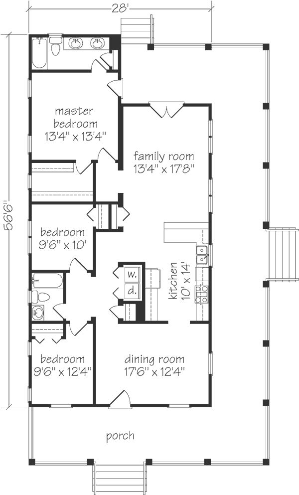 great one story cottage floor plan. just need to move the kitchen to the front or back of the floor plan