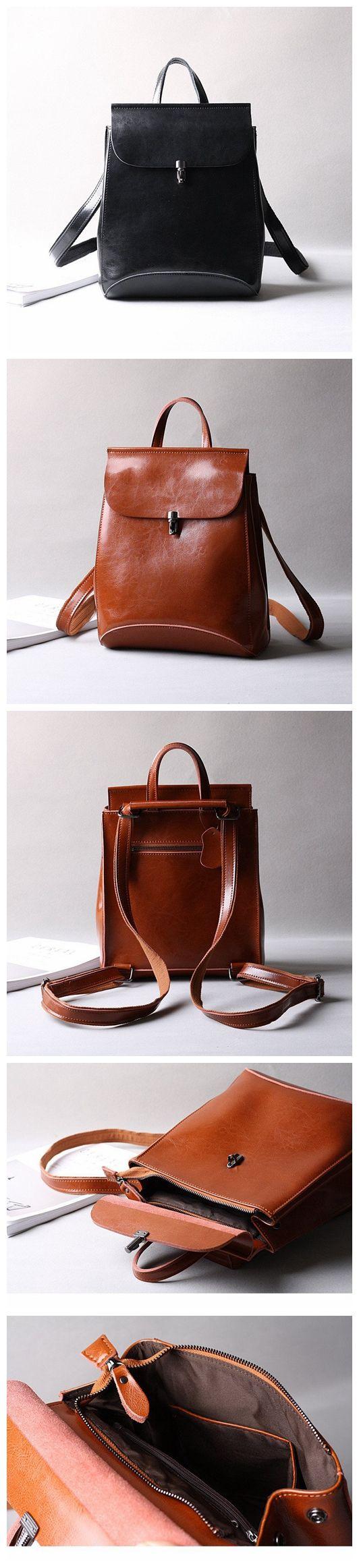 Women Leather Rucksack, Retro Shoulder Bag, Travel Backpack 9211