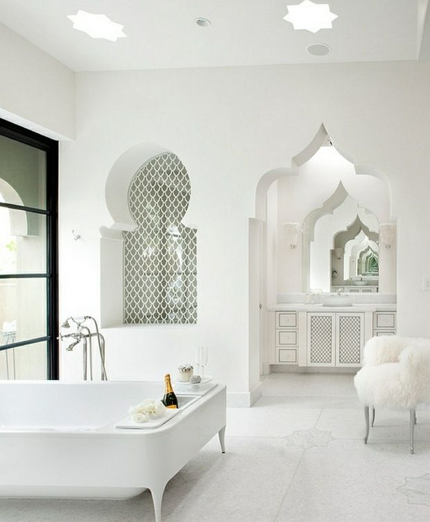moroccan architecture spring on white background - Salle De Bain Marocaine Moderne