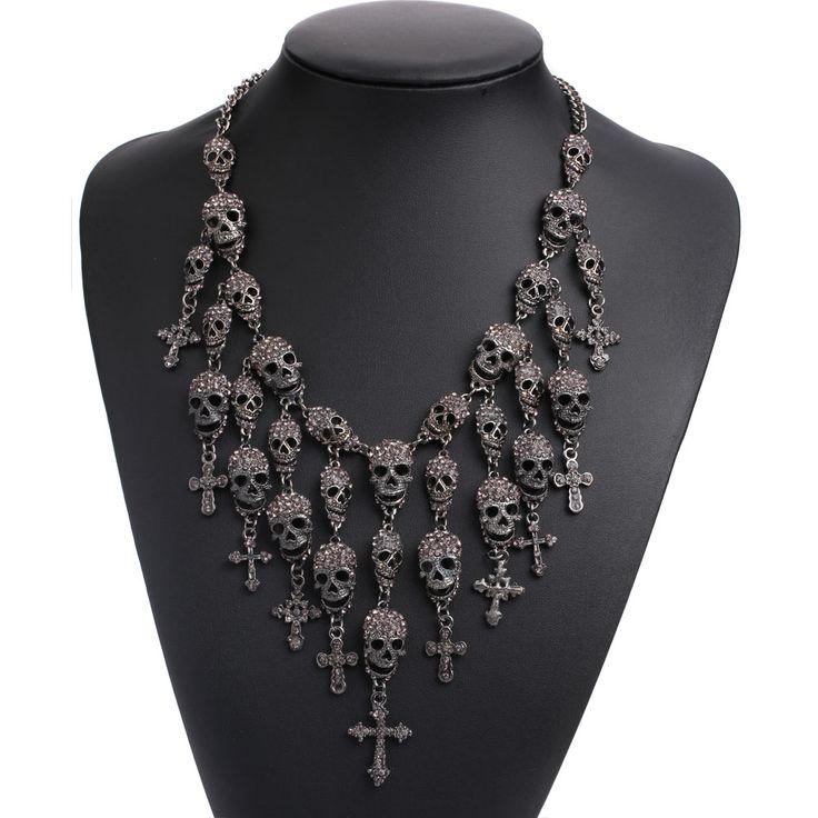 ראשי גולגולת שלד שרשרת האופנה שרשרת קריסטל שרשרת מתכת שרשרת הצהרת שרשראות & תליוני גולגולת Skullcandy מקסי