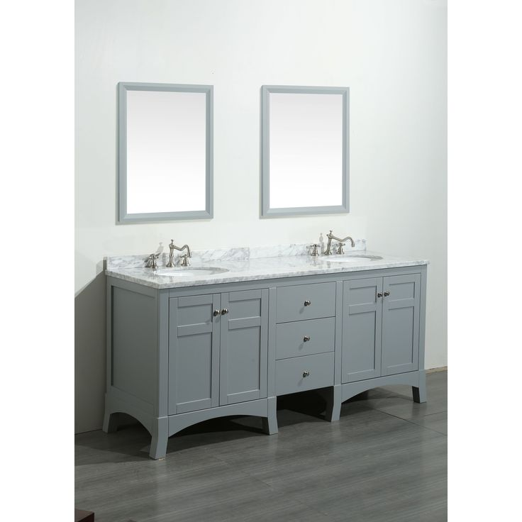 Eviva New York White Marble Carrera Counter Top And Sink Grey 72 Inch  Bathroom