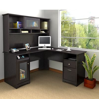 bush industries cabot lshaped computer desk with hutch u0026 reviews wayfair