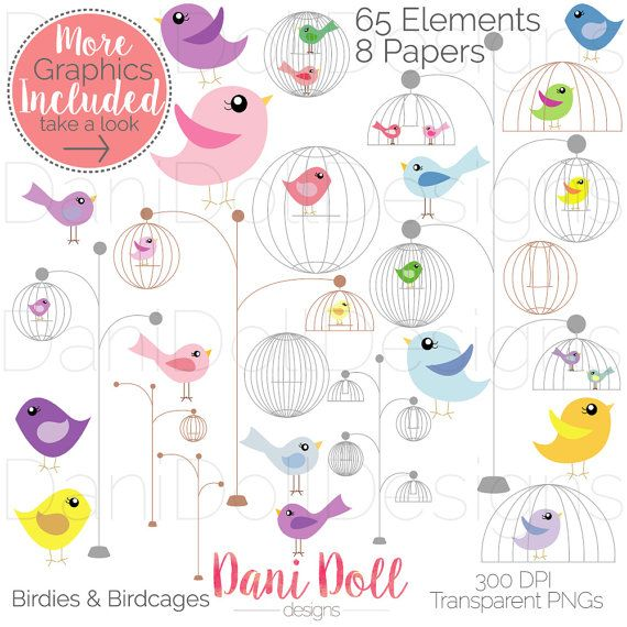 Cute Little Birds & Birdcages 65 Clip art Graphics and 8 Digital Papers Set PNG JPEG 300DPI Handmade Instant Download by danidolldesignsx