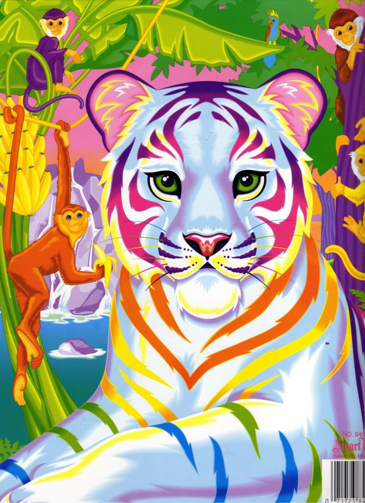 Lisa Frank white tiger with rainbows - in jungle with monkeys!
