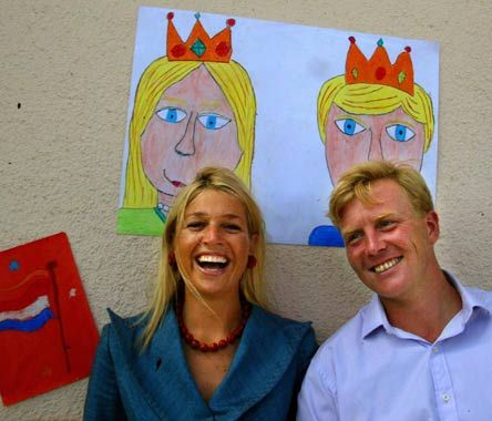 a cute picture of queen maxima and king willem alexander